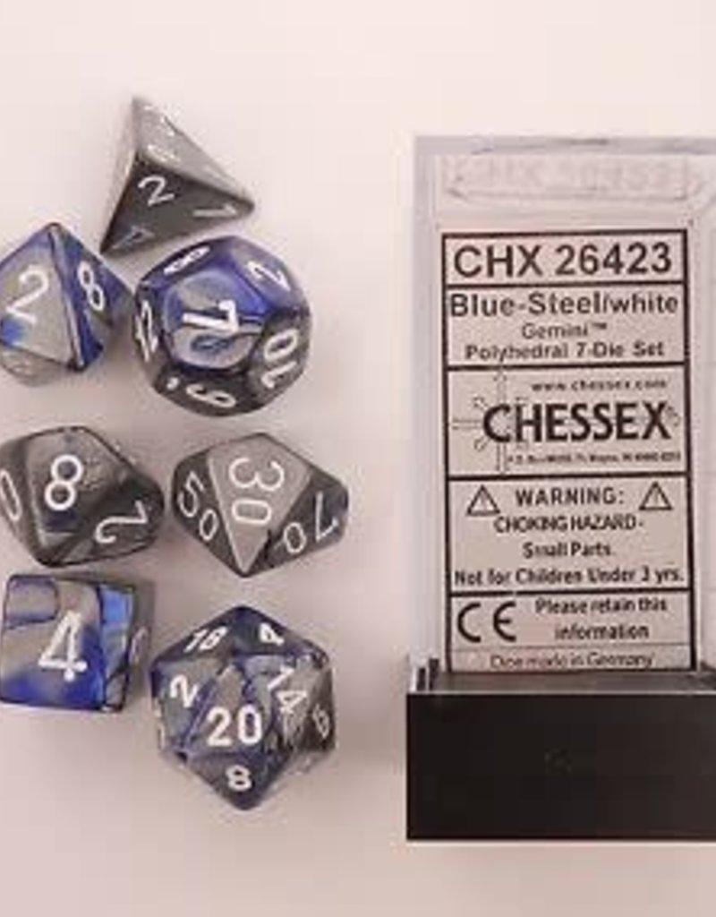 CHESSEX CHX 26423 7 PC POLY DICE SET BLUE STEEL GEMINI