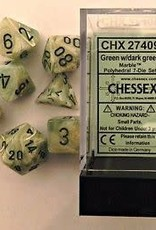 CHESSEX CHX 27409 7 PC POLY DICE SET MARBLE GREEN W/DARK GREEN