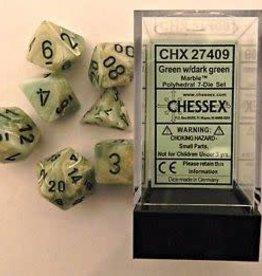 CHESSEX CHX 27409 7 PC POLY DICE SET MARBLE GREEN W/DARK GREEN