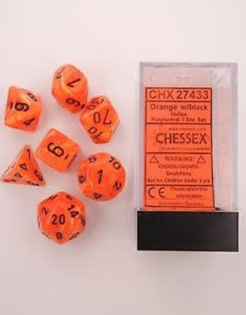 CHESSEX CHX 27433 7 PC POLY DICE SET VORTEX ORANGE W/BLACK