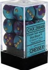 CHESSEX CHX 26649 16MM D6 DICE BLOCK GEMINI PURPLE TEAL W/GOLD