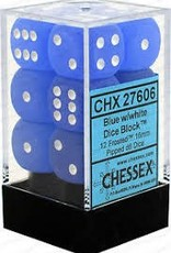 CHESSEX CHX 27606 16MM D6 DICE BLOCK FROSTED BLUE W/WHITE