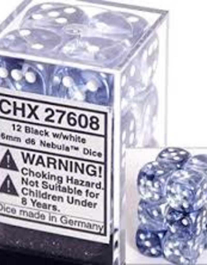 CHESSEX CHX 27608 16MM D6 DICE BLOCK NEBULA BLACK W/WHITE