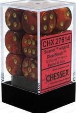 CHESSEX CHX 27614 16MM D6 DICE BLOCK SCARAB SCARLET W/GOLD