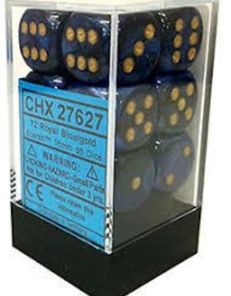 CHESSEX CHX 27627 16MM D6 DICE BLOCK SCARAB ROYAL BLUE W/GOLD