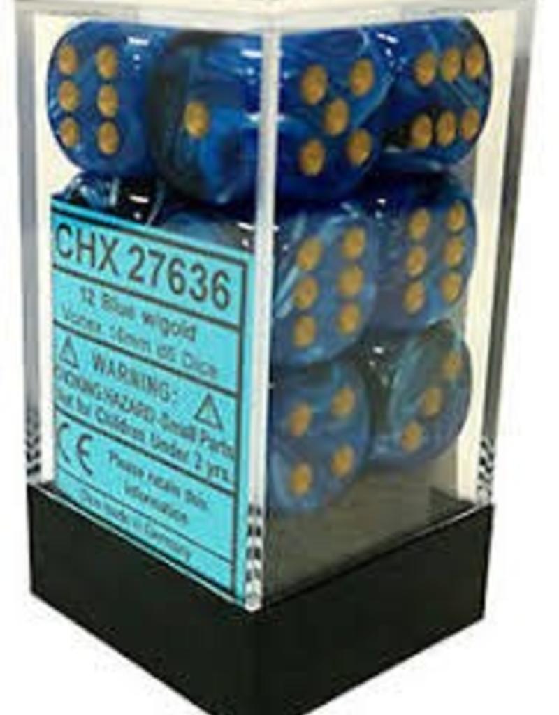 CHESSEX CHX 27636 16MM D6 DICE BLOCK VORTEX BLUE W/GOLD