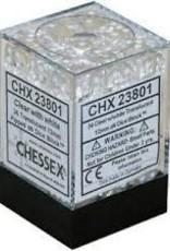 CHESSEX CHX 23801 12MM D6 DICE BLOCK TRANSLUSCENT CLEAR W/WHITE