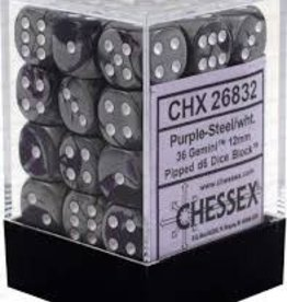 CHESSEX CHX 26832 12MM D6 DICE BLOCK PURPLE STEEL W/WHITE GEMINI