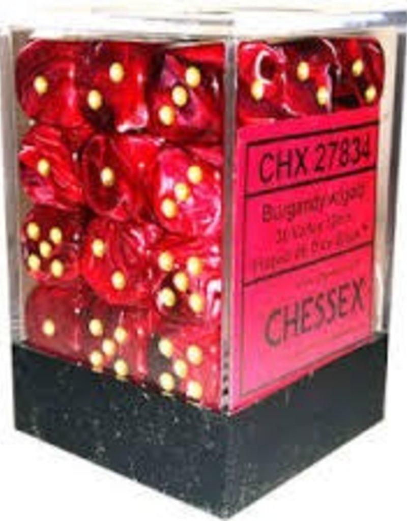 CHESSEX CHX 27834 12MM D6 DICE BLOCK VORTEX BURGUNDY W/GOLD