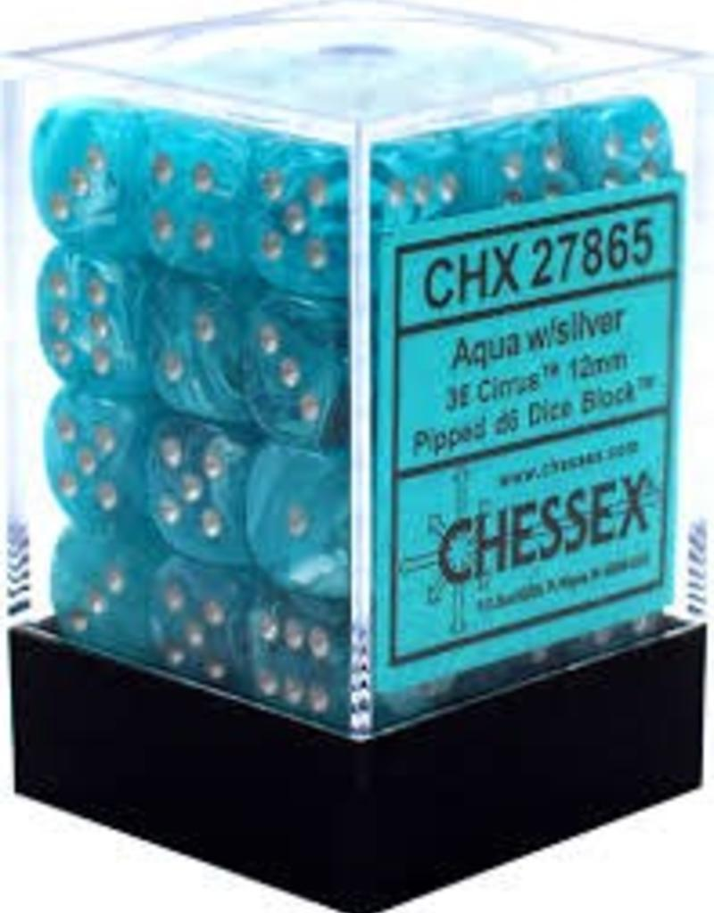 CHESSEX CHX 27865 12MM D6 DICE BLOCK CIRRUS AQUA W/SILVER