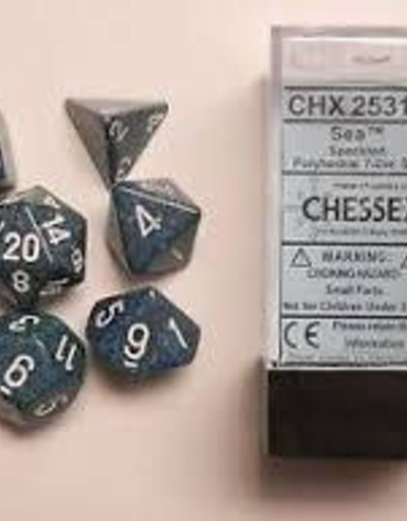 CHESSEX CHX 25316 7 PC POLY DICE SET SPECKLED SEA