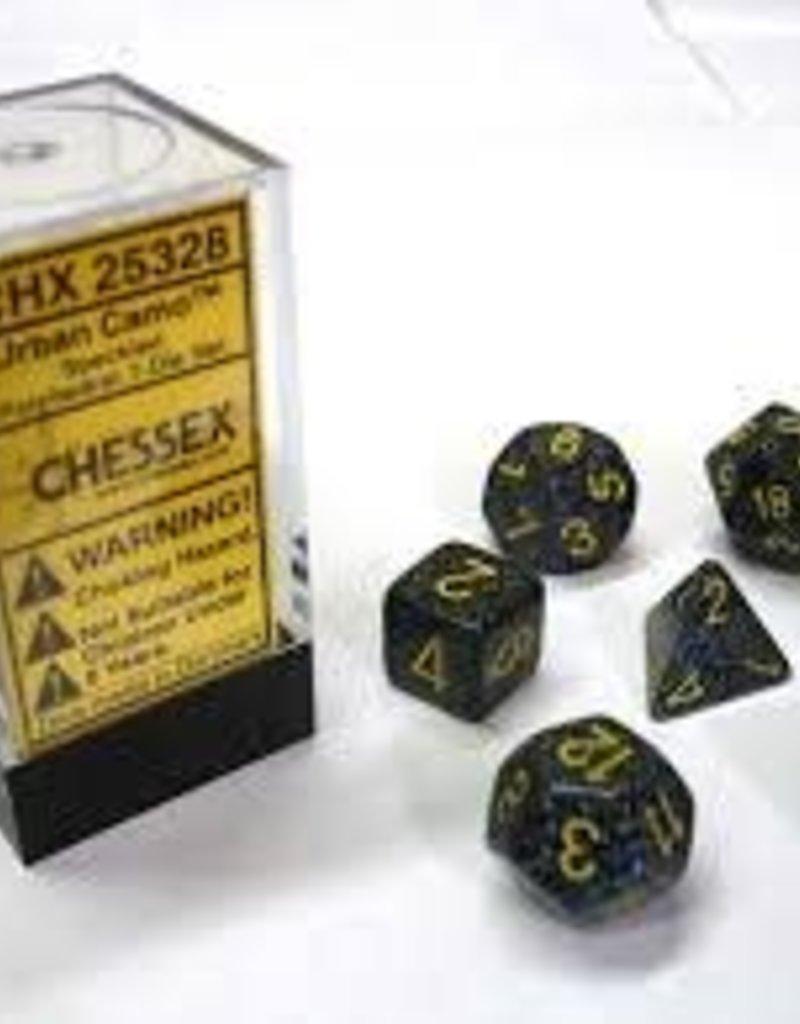 CHESSEX CHX 25328 7 PC POLY DICE SET SPECKLED URBAN CAMO