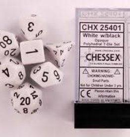 CHESSEX CHX 25401 7 PC POLY DICE SET WHITE W/ BLACK