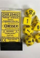 CHESSEX CHX 25402 7 PC POLY DICE SET YELLOW w/ BLACK OPAQUE