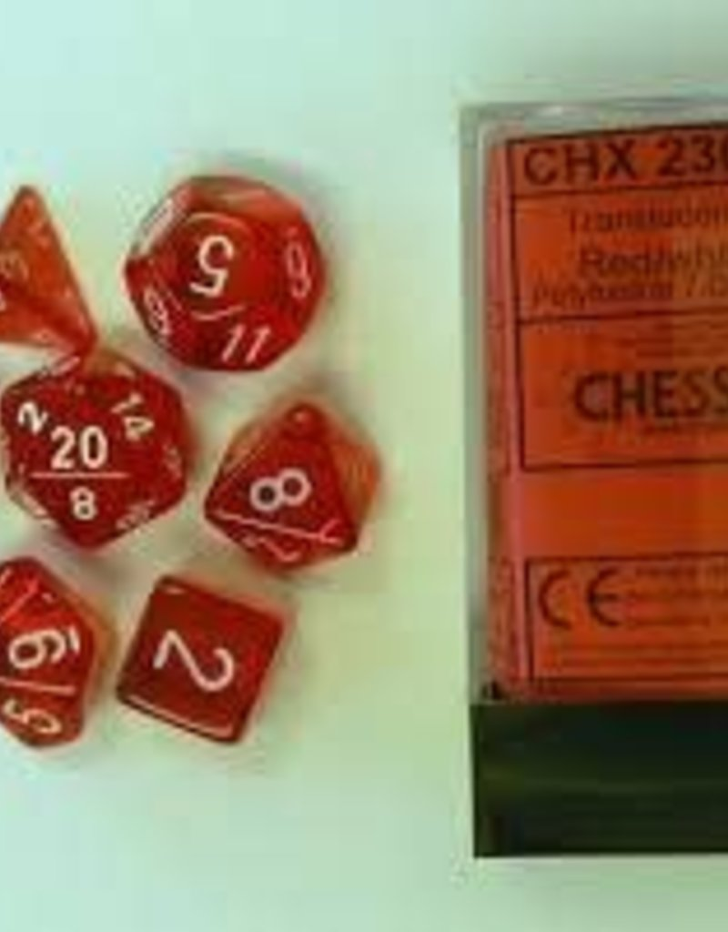 CHESSEX CHX 23004 7 PC POLY DICE SET TRANSLUCENT RED W/ WHITE