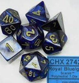 CHESSEX CHX 27427 7 PC POLY DICE SET SCARAB ROYAL BLUE W/GOLD