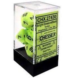 CHESSEX CHX 27430 7 PC POLY DICE SET VORTEX BRIGHT GREEN W/BLACK