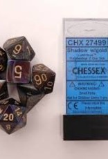 CHESSEX CHX 27499 7 PC POLY DICE SET LUSTROUS SHADOW W/ GOLD