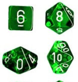 CHESSEX CHX 23075 7CT POLYHEDRAL DICE TRANSLUCENT GREEN/WHITE