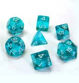 CHESSEX CHX 23085 7CT POLYHEDRAL DICE TRANSLUCENT TEAL/WHITE