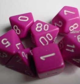 CHESSEX CHX 25444 7CT POLYHEDRAL DICE OPAQUE PINK/WHITE