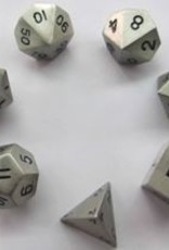 CHESSEX CHX 27021 7CT POLYHEDRAL METAL DICE SILVER