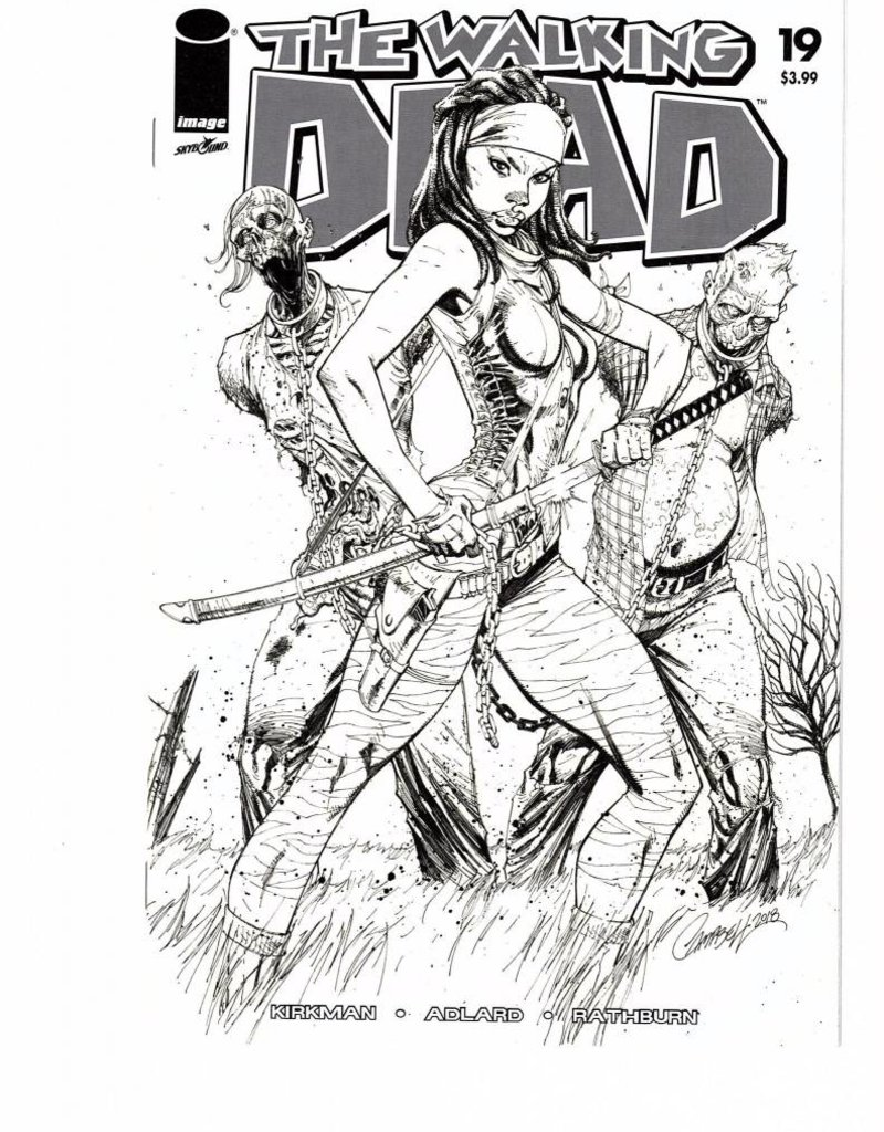 IMAGE COMICS WALKING DEAD #19 15TH ANNV CAMPBELL VAR B&W