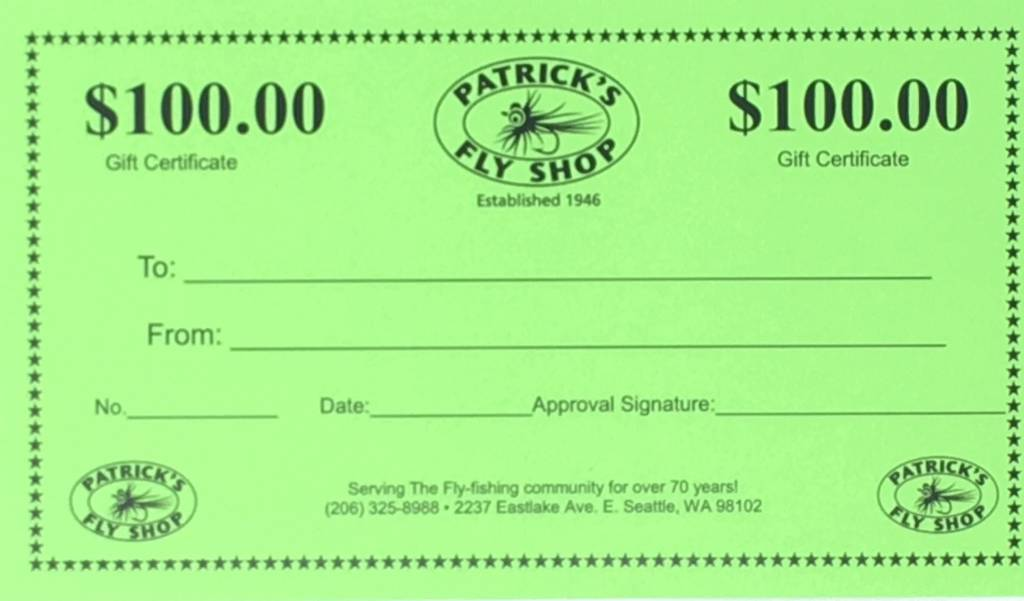 Patrick's Gift Certificate - $100.00