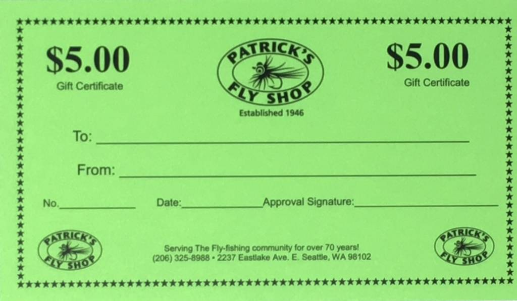 Patrick's Gift Certificate - $5.00