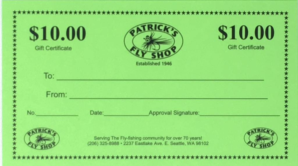 Patrick's Gift Certificate - $10.00