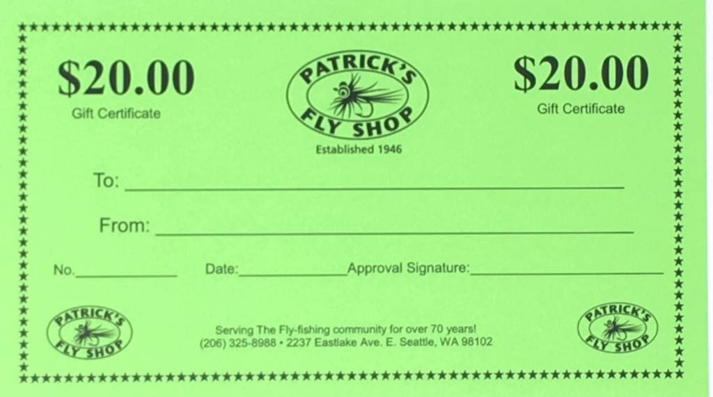 Patrick's Gift Certificate - $20.00