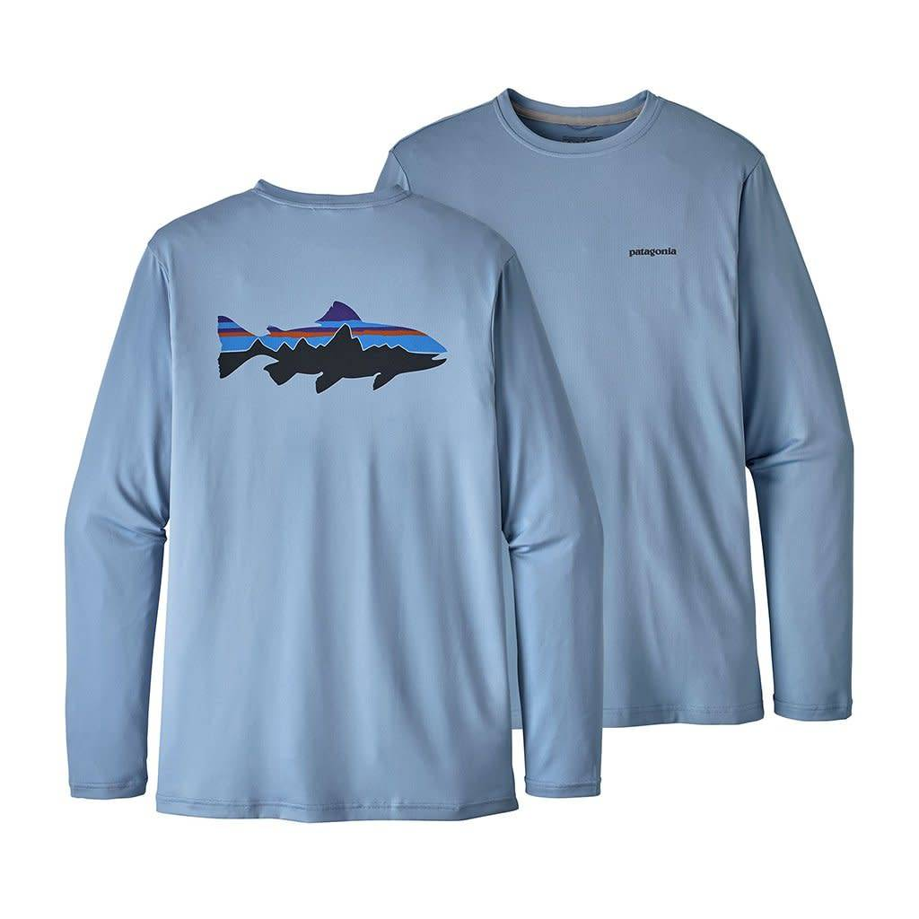 Patagonia Men's Graphic Tech Fish Tee - Fitz Roy Trout: Railroad Blue L