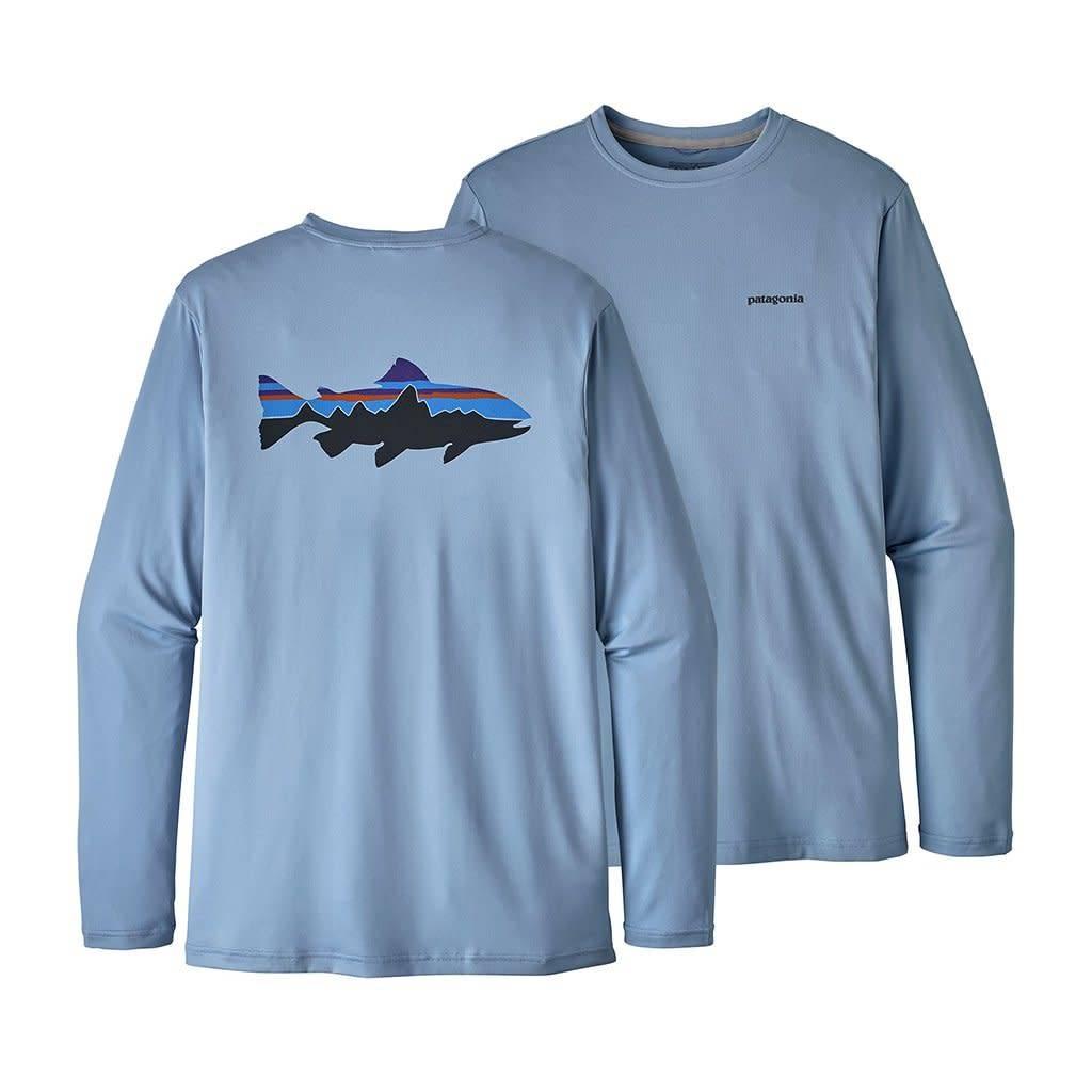 Patagonia Men's Graphic Tech Fish Tee - Fitz Roy Trout: Railroad Blue XL