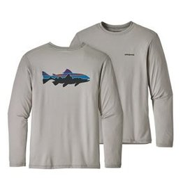 Patagonia Men's Graphic Tech Fish Tee - Fitz Roy Trout: Drifter Grey M