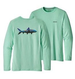 Patagonia Men's Graphic Tech Fish Tee - Fitz Roy Bonefish: Bend Blue S