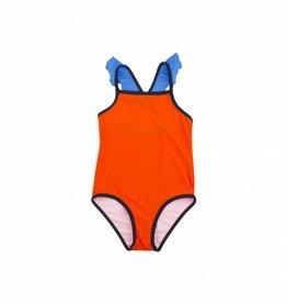Tiny Cottons Maillot de bain à volants, rouge et bleu