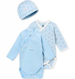 Petit Bateau Lot de 2 cache-couches et un bonnet, pour bébé garçon