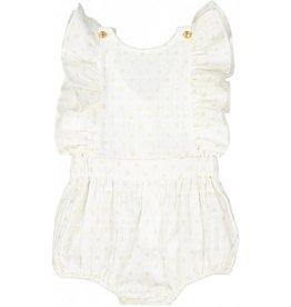 Barboteuse bébé fille Marie, blanc et doré