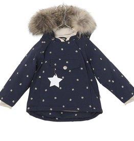 Manteau d'hiver Wang  avec fourrure, imprimé coccinelles