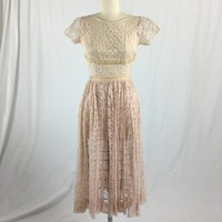 Pink Sheer Lace Fit & Flare Dress