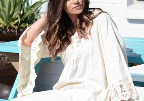 Cream Angel Sleeve Gown