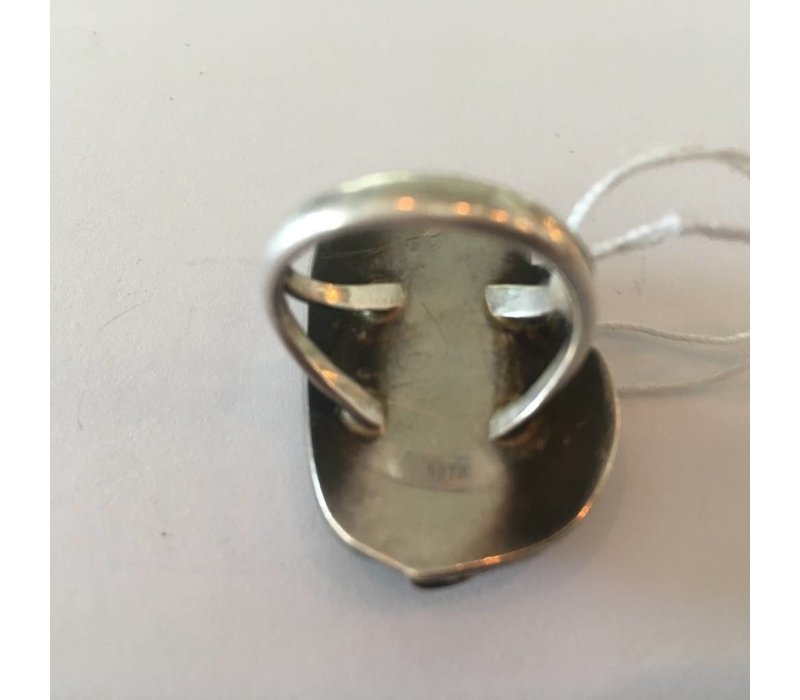 Stamped Sterling Agate Ring