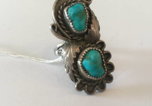 Turquoise 2 Stone Ring With Feathers