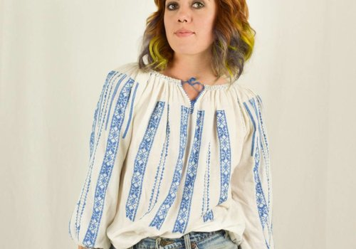 Blue Embroidered 70's Folk Blouse