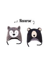 Flapjack Kids Wolf/ Black Bear Reversible Hat