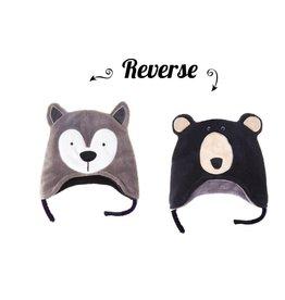 Flapjack Kids Flapjack Kids Wolf/ Black Bear Reversible Hat