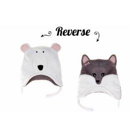 Flapjack Kids Flapjack Kids Polar Bear/Artic Fox Reversible Hat