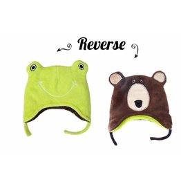 Flapjack Kids Flapjack Kids Frog/Brown Bear Reversible Hat