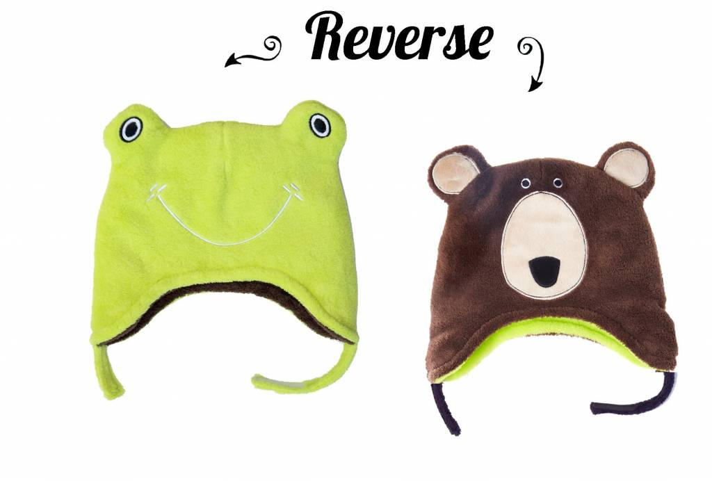 Flapjack Kids Frog/Brown Bear Reversible Hat