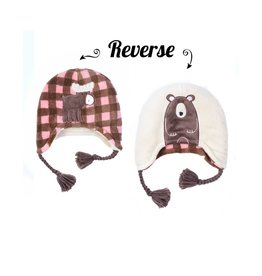 Flapjack Kids Moose/ Brown Bear Reversible Hat
